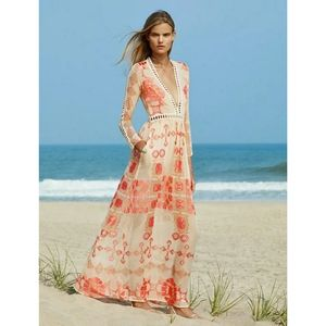 NWT Cage Trimmed Boho Beige Red Gold Maxi Dress